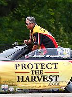 May 19, 2014; Commerce, GA, USA; NHRA pro stock driver Rodger Brogdon during the Southern Nationals at Atlanta Dragway. Mandatory Credit: Mark J. Rebilas-USA TODAY Sports