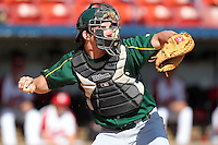 North Dakota State Bisons Dana Hill #3 during a game vs Bradley Braves at Chain of Lakes Park in Winter Haven, Florida;  March 17, 2011.  Bradley defeated North Dakota State 6-5.  Photo By Mike Janes/Four Seam Images