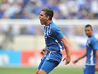 Rodolfo Zelaya Garcia (11) of El Salvador celebrates his score.  Trinidad & Tobago tied El Salvador 1-1 in the first round of the Concacaf Gold Cup, at Red Bull Arena, Monday July 8 , 2013.