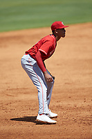 Third baseman Danny Corona (41) of Baylor School in Brooklyn, NY playing for the Cincinnati Reds scout team during the East Coast Pro Showcase at the Hoover Met Complex on August 3, 2020 in Hoover, AL. (Brian Westerholt/Four Seam Images)