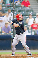 Derek Norris #25 of the Harrisburg Senators at bat against the Richmond Flying Squirrels in game one of a double-header at The Diamond on July 22, 2011 in Richmond, Virginia.  The Squirrels defeated the Senators 3-1.   (Brian Westerholt / Four Seam Images)