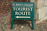 Cambridge University UK St Johns College Tourist Route sign.