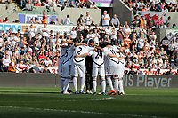 FAO SPORTS PICTURE DESK<br /> Pictured: Swansea players huddle before the game. Saturday, 24 March 2012<br /> Re: Premier League football, Swansea City FC v Everton at the Liberty Stadium, south Wales.