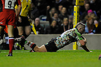 Joe Marler of Harlequins scores a try in the corner during the Aviva Premiership match between Harlequins and Saracens at Twickenham on Tuesday 27 December 2011 (Photo by Rob Munro)