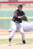 Nick Valenza (18) of the Bakersfield Blaze pitches during a game against the High Desert Mavericks at Mavericks Stadium on May 18, 2015 in Adelanto, California. High Desert defeated Bakersfield, 7-6. (Larry Goren/Four Seam Images)