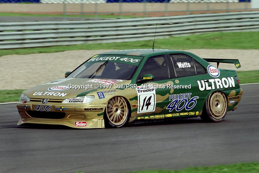 Round 12 of the 1997 British Touring Car Championship. #14 Patrick Watts (GBR). Esso Unitron Team Peugeot. Peugeot 406.