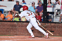 Johnson City Cardinals center fielder Magneuris Sierra (37) swings at a pitch during a game against the Kingsport Mets on June 25, 2015 in Johnson City, Tennessee. The Mets defeated the Cardinals 10-8 (Tony Farlow/Four Seam Images)
