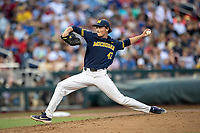 Michigan Wolverines pitcher Tommy Henry (47) delivers a pitch to the plate against the Florida State Seminoles during the NCAA College World Series on June 17, 2019 at TD Ameritrade Park in Omaha, Nebraska. Henry pitched a complete game as Michigan defeated Florida State 2-0. (Andrew Woolley/Four Seam Images)