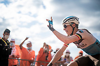 Oliver Naesen (BEL/AG2R-La Mondiale) responding to the cheers up the Puy Mary (uphill finish)<br /> <br /> Stage 13 from Châtel-Guyon to Pas de Peyrol (Le Puy Mary) (192km)<br /> <br /> 107th Tour de France 2020 (2.UWT)<br /> (the 'postponed edition' held in september)<br /> <br /> ©kramon