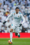 Raphael Varane of Real Madrid in action during the La Liga 2017-18 match between Real Madrid and Villarreal CF at Santiago Bernabeu Stadium on January 13 2018 in Madrid, Spain. Photo by Diego Gonzalez / Power Sport Images