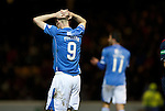 Motherwell v St Johnstone..30.12.15  SPFL  Fir Park, Motherwell<br /> Steven MacLean reacts to a missed chance<br /> Picture by Graeme Hart.<br /> Copyright Perthshire Picture Agency<br /> Tel: 01738 623350  Mobile: 07990 594431