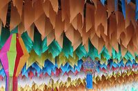 Pequenas bandeiras feitas de papel de seda enfeitam quadra junina na grande Belém.<br /> Ananindeua, Pará, Brasil.<br /> Foto Laura Rocha<br /> 24/06/2017