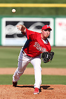 Philadelphia Phillies pitcher B.J. Rosenberg #76 delivers a pitch during a scrimmage against the Florida State Seminoles at Brighthouse Field on February 29, 2012 in Clearwater, Florida.  Philadelphia defeated Florida State 6-1.  (Mike Janes/Four Seam Images)
