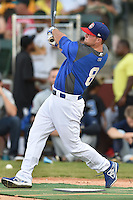 Chattanooga Lookouts outfielder Scott Schebler #8 swings at a pitch during the Southern League Home Run Derby at Engel Stadium on June 16, 2014 in Chattanooga, Tennessee.  (Tony Farlow/Four Seam Images)