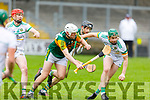 Kerry's Michael Slattery putting pressure on Damien Egan of Offaly in Div 2 of the National Hurling League in Austin Stack Park on Sunday.