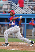 Auburn Doubledays outfielder Wander Ramos #26 during a game against the Batavia Muckdogs at Dwyer Stadium on June 18, 2012 in Batavia, New York.  Auburn defeated Batavia 6-5.  (Mike Janes/Four Seam Images)