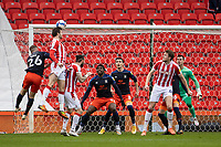 20th February 2021; Bet365 Stadium, Stoke, Staffordshire, England; English Football League Championship Football, Stoke City versus Luton Town; Nick Powell of Stoke City has an attempt on goal as he wins the header