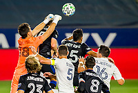CARSON, CA - OCTOBER 14: James Marcinkowski #18 GK of the San Jose Earthquakes punches a ball outta the box during a game between San Jose Earthquakes and Los Angeles Galaxy at Dignity Heath Sports Park on October 14, 2020 in Carson, California.