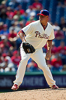 Philadelphia Phillies pitcher Jeremy Horst #47 delivers during the Major League Baseball game against the Pittsburgh Pirates on June 28, 2012 at Citizens Bank Park in Philadelphia, Pennsylvania. The Pirates defeated the Phillies 5-4. (Andrew Woolley/Four Seam Images).