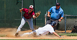 WATERBURY, CT 073121JS10 Midland's Thomas Ryan (16) slides safely into third in front of the tag by South Troy's Jacob Skarlis (17) during their Mickey Mantle World Series baseball game saturday at Municipal Stadium in Waterbury. <br /> Jim Shannon Republican American