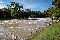 """Floodwaters overtake Barton Springs Pool during the 2013 Halloween Flood where 5"""" to 5.50"""" inches of rain fell from October 30th to early October 31st, 2013."""