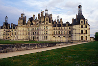 castle, France, Chambord, Loire-et-Cher, Centre, Loire Castle Region, Europe, Loire Valley, 16th century Chateau de Chambord in the Loire Castle Region.