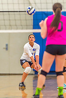 18 October 2015: Yeshiva University Maccabee Libero Shaina Hourizadeh, a Junior from Englewood, NJ, bumps during game action against the Sage College Gators, at the Peter Sharp Center, College of Mount Saint Vincent, in Riverdale, NY. The Gators defeated the Maccabees 3-0 in the NCAA Division III Women's Volleyball Skyline matchup. Mandatory Credit: Ed Wolfstein Photo *** RAW (NEF) Image File Available ***