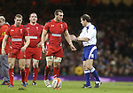 Wales captain Sam Warburton in discussion with Referee Alain Rolland.<br /> RBS 6 Nations 2014<br /> Wales v France<br /> Millennium Stadium<br /> 21.02.14<br /> <br /> ©Steve Pope-SPORTINGWALES
