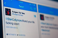 Wednesday 22 January 2014<br /> Pictured: Stan Collymore has been retweeiting examples of some of the racist abuse that he's been receiving<br /> Re: Former footballer Stan Collymore has accused Twitter of not doing enough to combat abusive messages after he was targeted by internet trolls. The broadcaster has retweeted some of the offensive messages he has received since he suggested Liverpool striker Luis Suarez dived to earn a penalty in Saturday's match against Aston Villa.