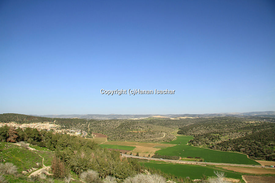 Israel, Shephelah, a view of Haelah valley from Tel Azekah