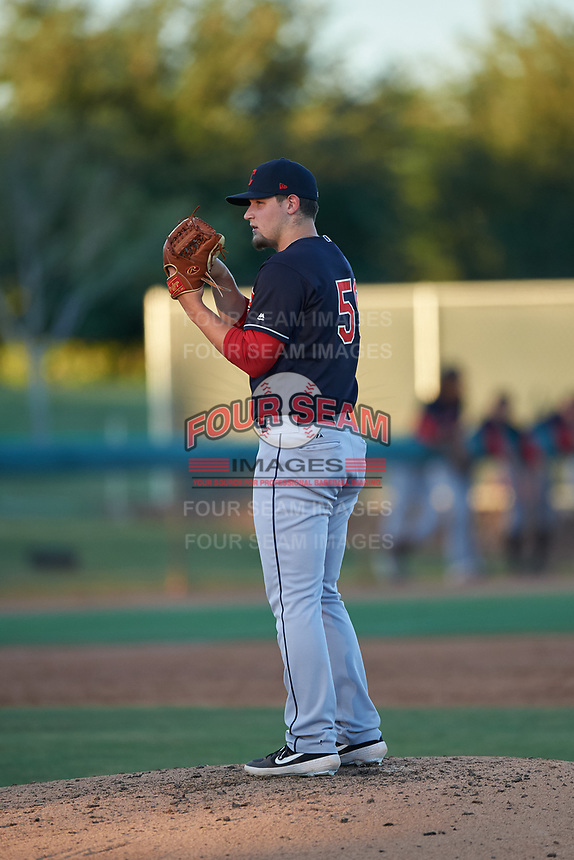 AZL Indians Blue relief pitcher Zach Hart (59) during an Arizona League game against the AZL White Sox on July 2, 2019 at Camelback Ranch in Glendale, Arizona. The AZL Indians Blue defeated the AZL White Sox 10-8. (Zachary Lucy/Four Seam Images)