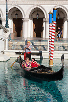 Las Vegas, Nevada.  Gondolas at the Venetian Hotel and Casino.