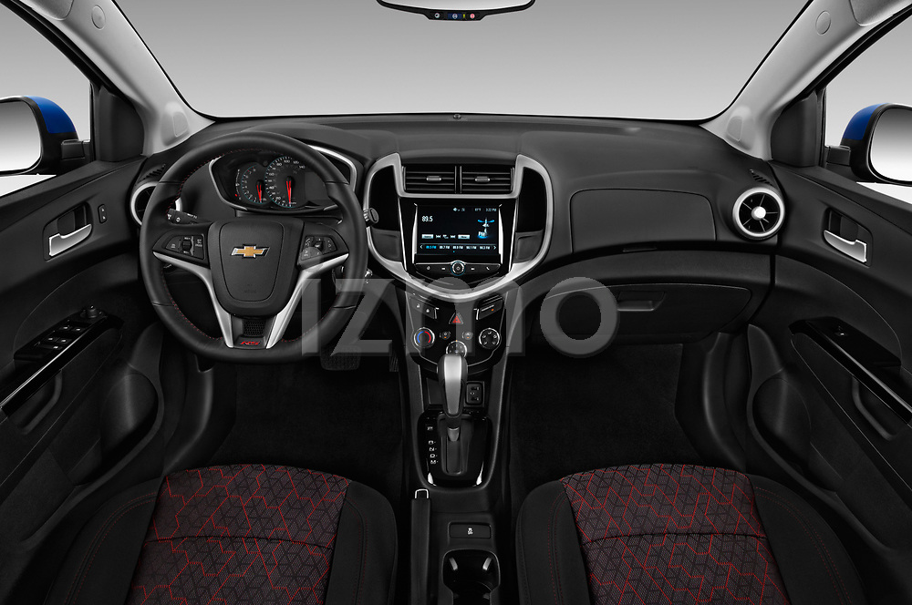 Stock photo of straight dashboard view of 2019 Chevrolet Sonic LT-RS-Automatic Door Hatchback Dashboard