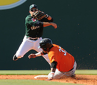 Second baseman Joantoni Garcia (36) of the Greenville Drive turns the first half of a double play, putting out Hector Sanchez (37) of the Augusta GreenJackets in a game on May 23, 2010, at Fluor Field at the West End in Greenville, S.C. Photo by: Tom Priddy/Four Seam Images