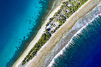 """Seen from above, it's easy to see why the Southwest Pacific country of Tuvalu has been identified as one of the world's most vulnerable nations to climate change. The country is made up of a collection of small islands and coral atolls, totalling only 27 square kilometres, scattered over 500,000 square kilometres of ocean. The highest point throughout the country is only 5 metres above sea level, resulting in special vulnerability to sea level rise. According to the Tuvaluan government, """"since 1993, sea level near Tuvalu has risen about 5mm per year; this is larger than the global average."""" Other challenges face the country including drought, ocean acidification and waste problems. Funafuti, Tuvalu. March, 2019."""