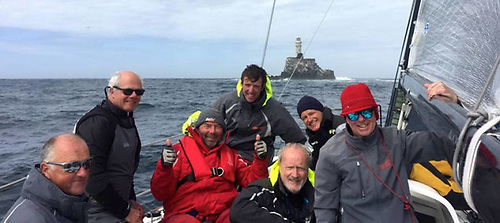 Rockabill's crew at the Fastnet Rock on their way to winning the 2017 Dun Laoghaire-Dingle Race, Paul O'Higgins o right.