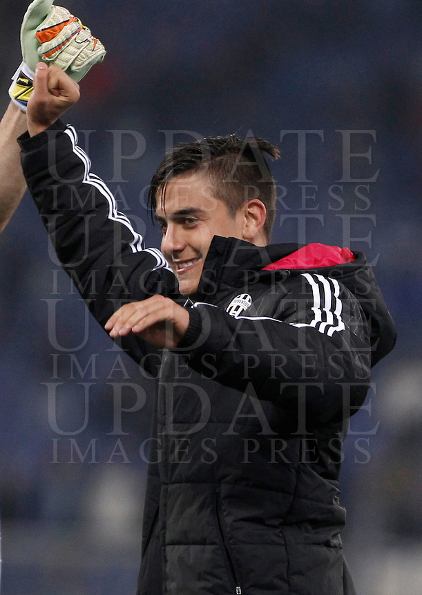 Calcio, Serie A: Lazio vs Juventus. Roma, stadio Olimpico, 4 dicembre 2015.<br /> Juventus' Paulo Dybala celebrates at the end of the Italian Serie A football match between Lazio and Juventus at Rome's Olympic stadium, 4 December 2015. Juventus won 2-0.<br /> UPDATE IMAGES PRESS/Isabella Bonotto