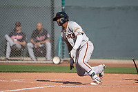 San Francisco Giants center fielder Heliot Ramos (21) starts down the first base line during a Minor League Spring Training game against the Cleveland Indians at the San Francisco Giants Training Complex on March 14, 2018 in Scottsdale, Arizona. (Zachary Lucy/Four Seam Images)