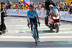 """Nairo Quintana (COL) Movistar Team Team crosses the finish line in 17th place atop the Col du Tourmalet 3'24"""" down at the end of Stage 14 of the 2019 Tour de France running 117.5km from Tarbes to Tourmalet Bareges, France. 20th July 2019.<br /> Picture: Colin Flockton 
