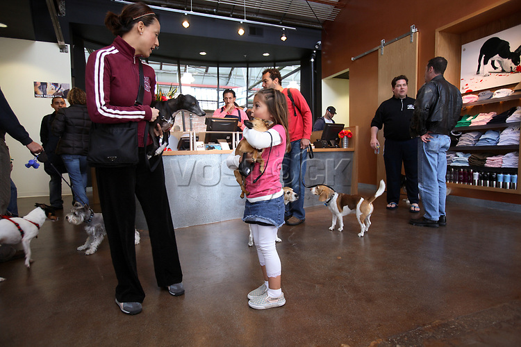 Visitors at the new Wag Hotel in San Francisco on Sunday, May 13, 2007. The Wag hotel, a luxury resort for dogs, opened in San Francisco on Saturday, May 12, 2007. It offers over 230 rooms and suites specifically designed for its four-legged guests as well as spa services such as pedicures, facials, massage and grooming. <br /> <br /> <br /> <br /> <br /> <br /> (Bildtechnik: sRGB, <br /> <br /> 36.39 MByte vorhanden)