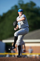 Hudson Valley Renegades relief pitcher J.D. Busfield (32) during a game against the Batavia Muckdogs on July 31, 2016 at Dwyer Stadium in Batavia, New York.  Hudson Valley defeated Batavia 4-1.  (Mike Janes/Four Seam Images)