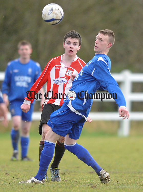 Darragh Fitzgerald of Bridge United in action against Alan O Sullivan of Killarney Athletic during their FAI Cup game at the County Grounds Doora. Photograph by John Kelly.