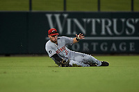 AZL Reds left fielder Wendell Marrero (31) makes a sliding catch during an Arizona League game against the AZL Cubs 2 on July 23, 2019 at Sloan Park in Mesa, Arizona. AZL Cubs 2 defeated the AZL Reds 5-3. (Zachary Lucy/Four Seam Images)