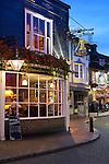Great Britain, England, East Sussex, Brighton: Evening restaurant scene in The Lanes area