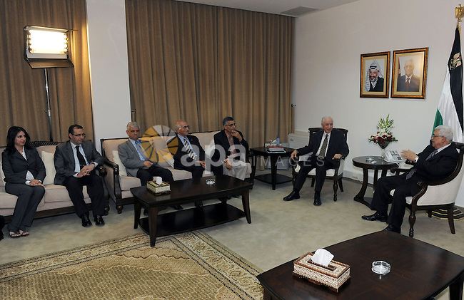 Palestinian President Mahmoud Abbas (Abu Mazen) during his meeting with a delegation from the Independent Commission  for Citizens Rights in the West Bank city of Ramallah on May 13, 2011. Photo by Thaer Ganaim
