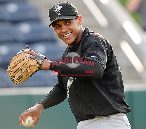 April 30, 2009: Infielder Jefry Marte (12) of the Savannah Sand Gnats, and No. 6 prospect of the New York Mets, prior to a game at Fluor Field at the West End in Greenville, S.C. Photo by: Tom Priddy/Four Seam Images