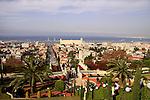 Israel, Mount Carmel, a view of Haifa from the Bahai Garden