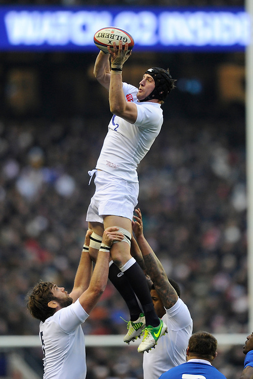 Tom Wood of England wins the lineout during the RBS 6 Nations match between England and France at Twickenham on Saturday 23rd February 2013 (Photo by Rob Munro)
