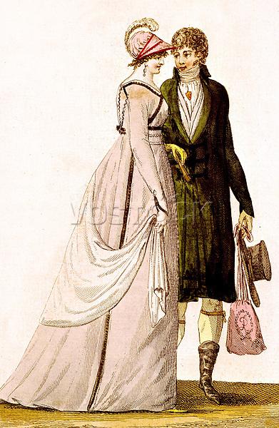 Mode masculine et feminine, epoque du Directoire 1795-1799, gravure par Nodel : la femme porte une robe a taille haute, un chale et un chapeau, l'homme porte une redingote et le sac a main de la dame  --- Men and women's fashion in France , at the time of the Directoire, 1795-1799, engraving