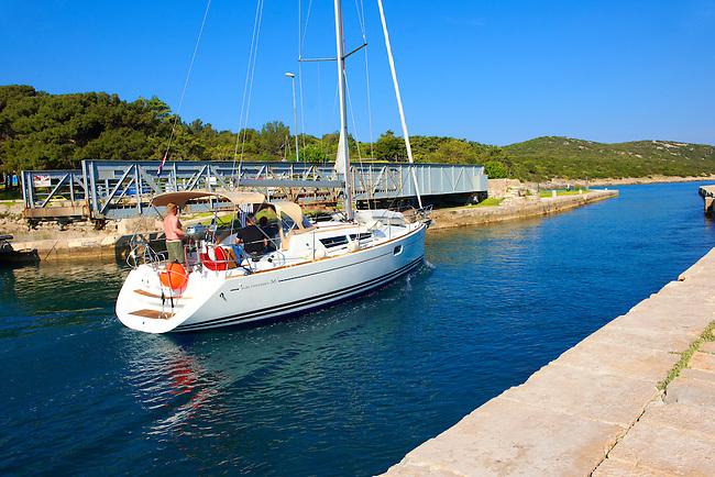 Sea canal at Osor dividing Cres Island and Losinj Island, Croatia